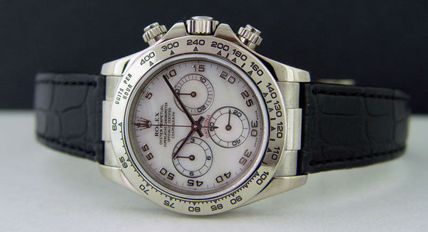 ROLEX 40mm Daytona 18kt White Gold White Mother of Pearl Dial Model 116519