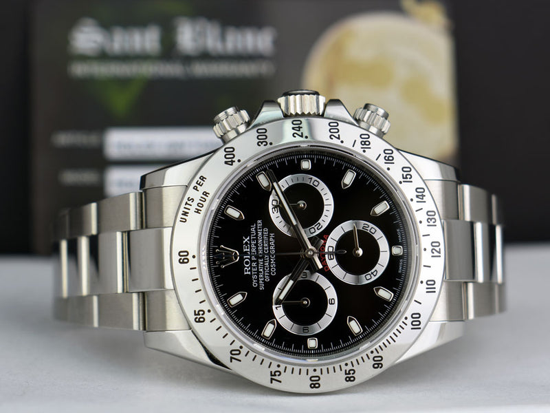 "ROLEX - 40mm Stainless Steel DAYTONA Black Index Dial ""FAT"" Clasp 116520"
