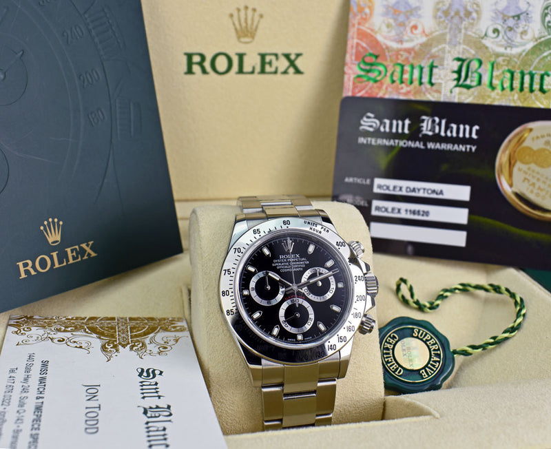 ROLEX 40mm Stainless Steel Daytona Black Index Dial Fat Clasp Box & Card Model 116520