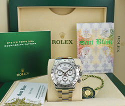 ROLEX Mens 40mm Stainless Steel Daytona White Index Dial Fat Clasp Model 116520