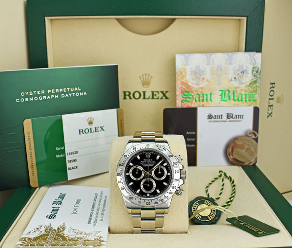 ROLEX 40mm Stainless DAYTONA Black Index Dial Random Serial with Card Model 116520