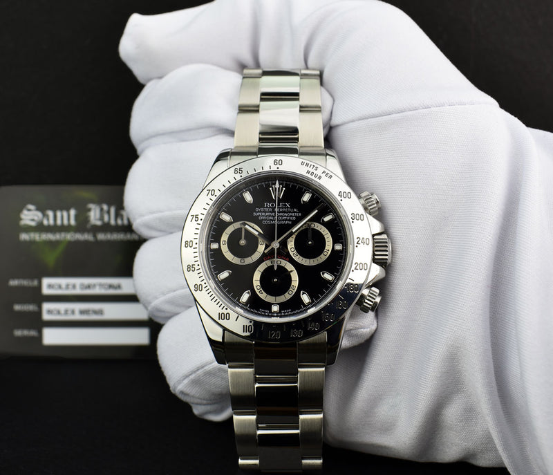 ROLEX 40mm Mens Stainless Steel DAYTONA Black Index Dial 116520