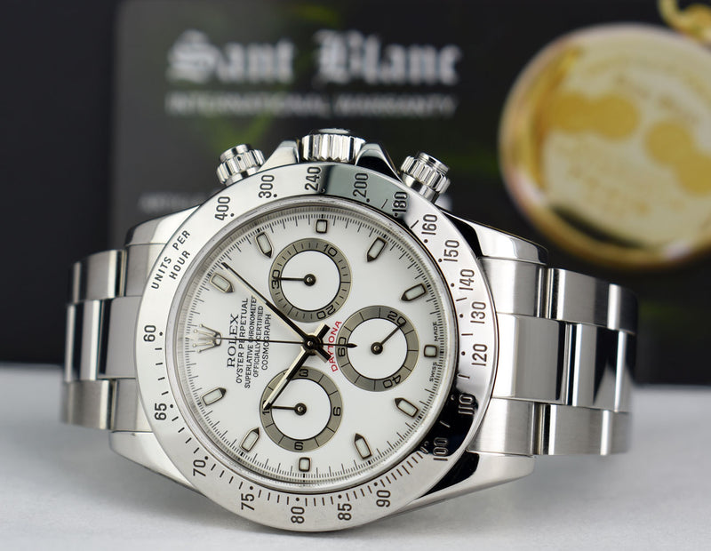 ROLEX 40mm Mens Stainless Steel DAYTONA White Index Dial 116520
