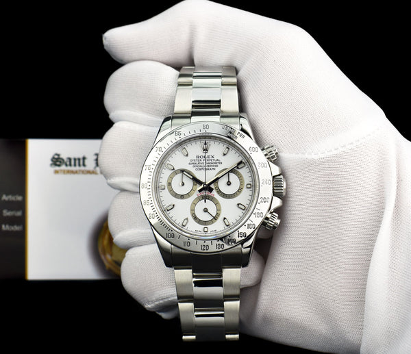ROLEX 40mm Stainless Steel Daytona White Index Dial Fat Clasp Model 116520