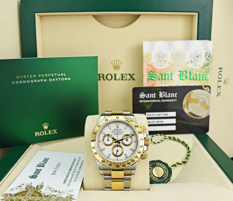 ROLEX Mens 18kt Gold Stainless Steel Daytona White Index Dial Fat Buckle Model 116523