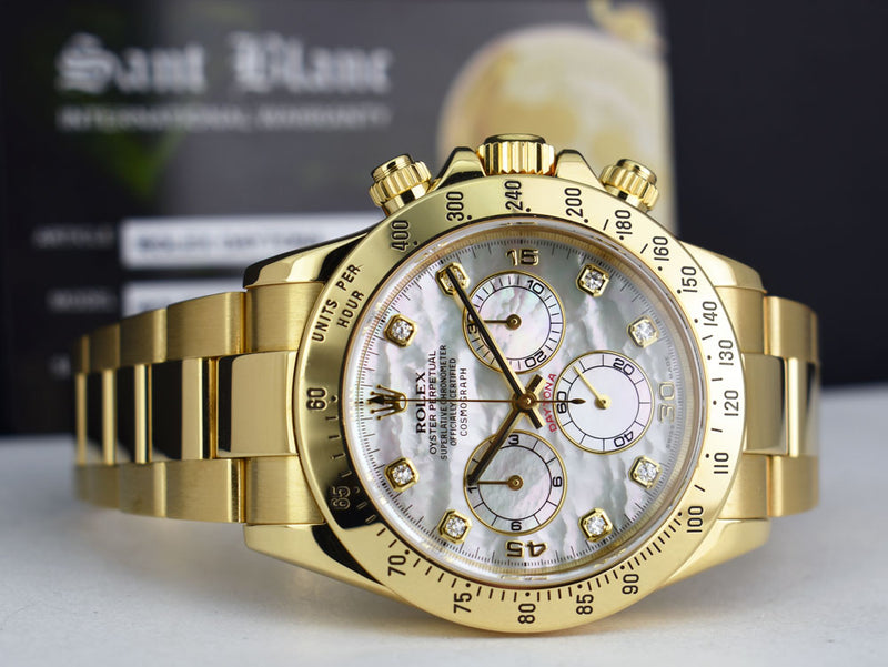 ROLEX - 40mm 18kt Yellow Gold DAYTONA MOP Diamond Dial 116528
