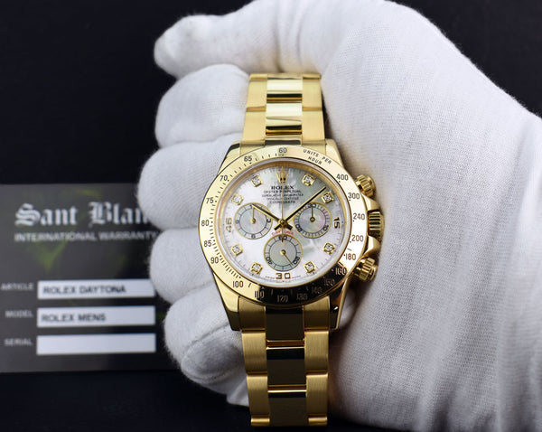 ROLEX 40mm 18kt Yellow Gold Daytona Mother of Pearl Diamond Dial Model 116528