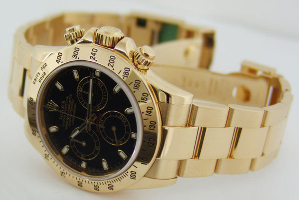 ROLEX - 40mm 18kt Yellow Gold DAYTONA Black Index Dial 116528