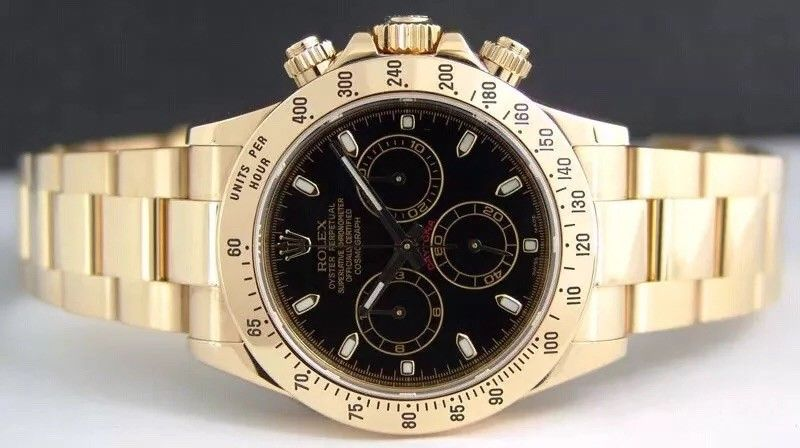 ROLEX 40mm 18kt Yellow Gold Daytona Black Index Dial Model 116528