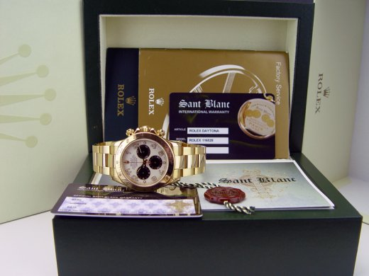 ROLEX Mens 18kt Gold Daytona White Black Panda Arabic Dial Model 116528