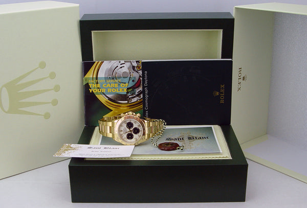 ROLEX 40mm Mens 18kt Yellow Gold Daytona White Black Panda Dial Model 116528