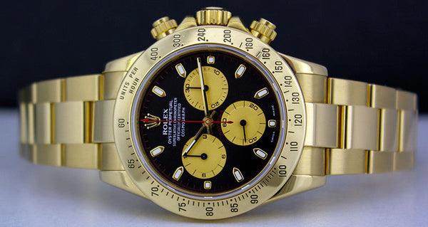 ROLEX Mens 40mm 18kt Yellow Gold Daytona Black Paul Newman Dial Model 116528