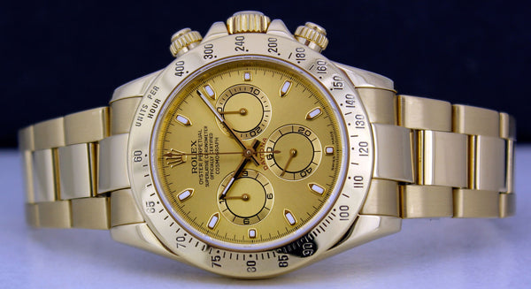 ROLEX Mens 40mm 18kt Yellow Gold Daytona Champagne Index Model 116528