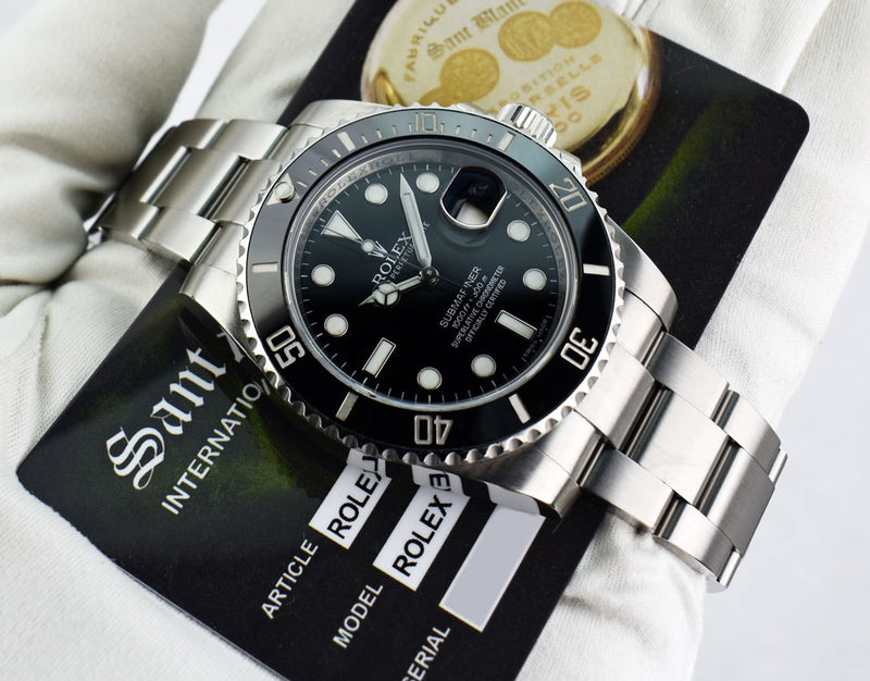 ROLEX Mens 40mm Stainless Steel Ceramic Submariner Black Dial 116610 LN