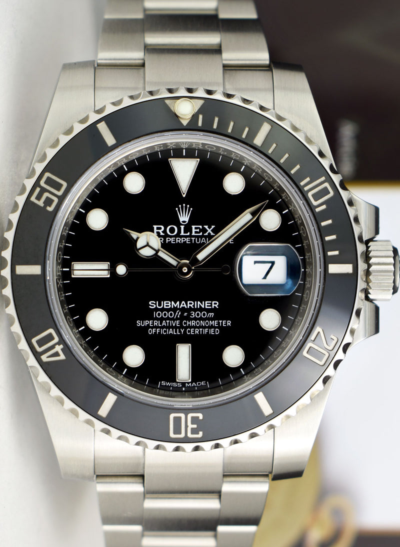 ROLEX 40mm Mens Stainless Steel Submariner Black Ceramic Model 116610