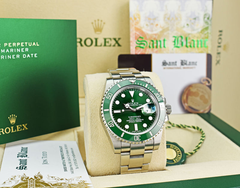 "Rolex 40mm Stainless Steel Submariner Green ""Hulk"" Dial Model 116610LV"