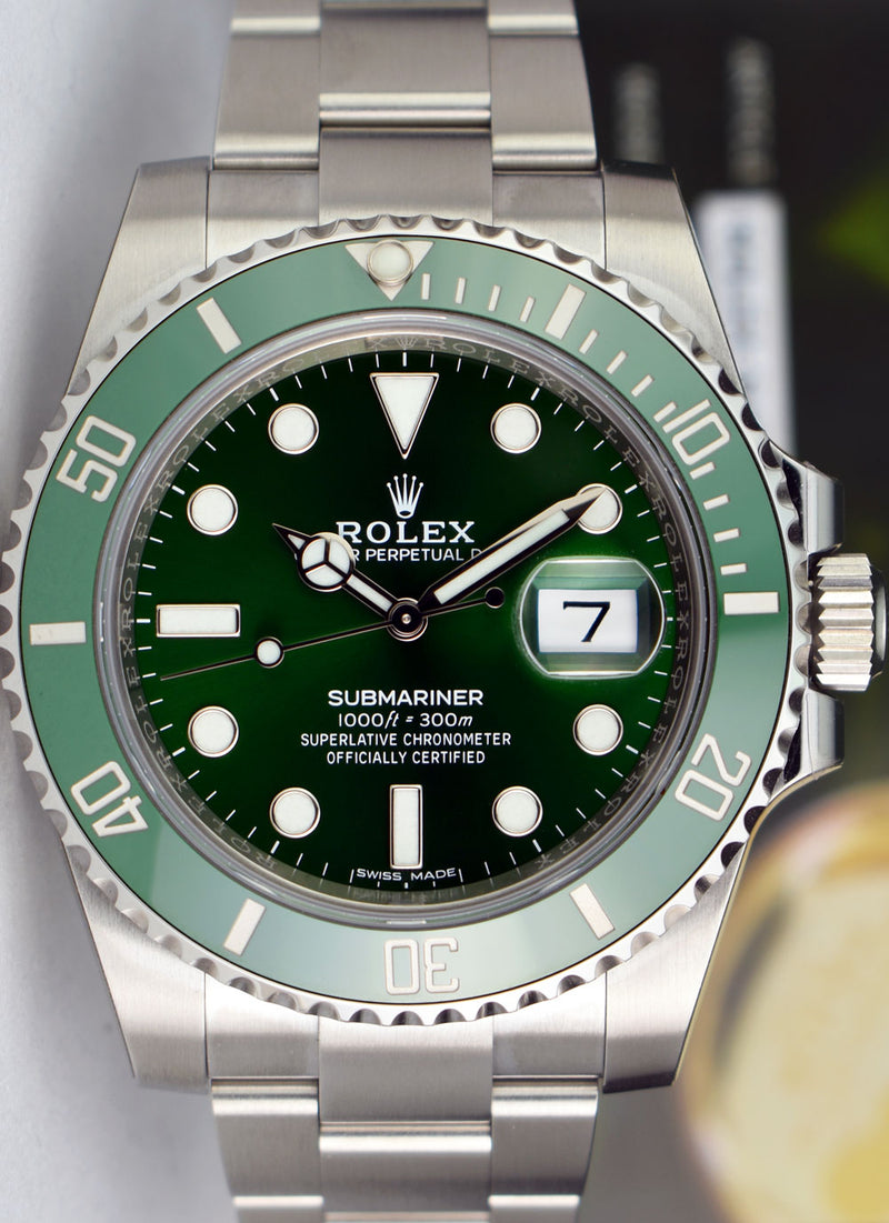 "ROLEX - The ""HULK"" 40mm Stainless Steel Ceramic Submariner Green Dial 116610 LV"