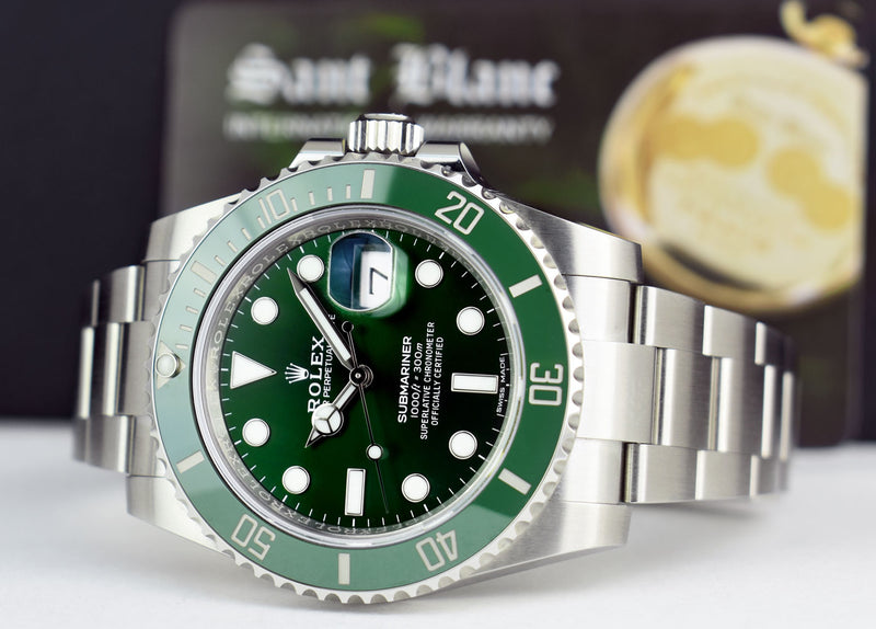"2020 Rolex 40mm Stainless Steel Submariner Green ""Hulk"" Dial Box & Card Model 116610LV"