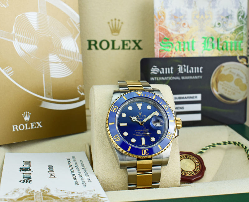 ROLEX - 18kt Gold & Stainless Submariner Blue Ceramic With CARD - 116613LB