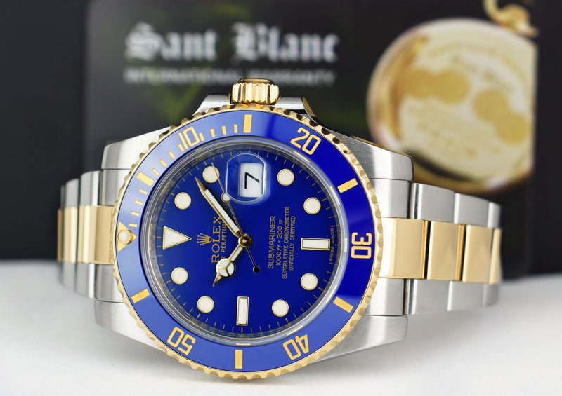 ROLEX 18kt Gold & Stainless Steel Submariner Blue Matte Dial Model 116613LB
