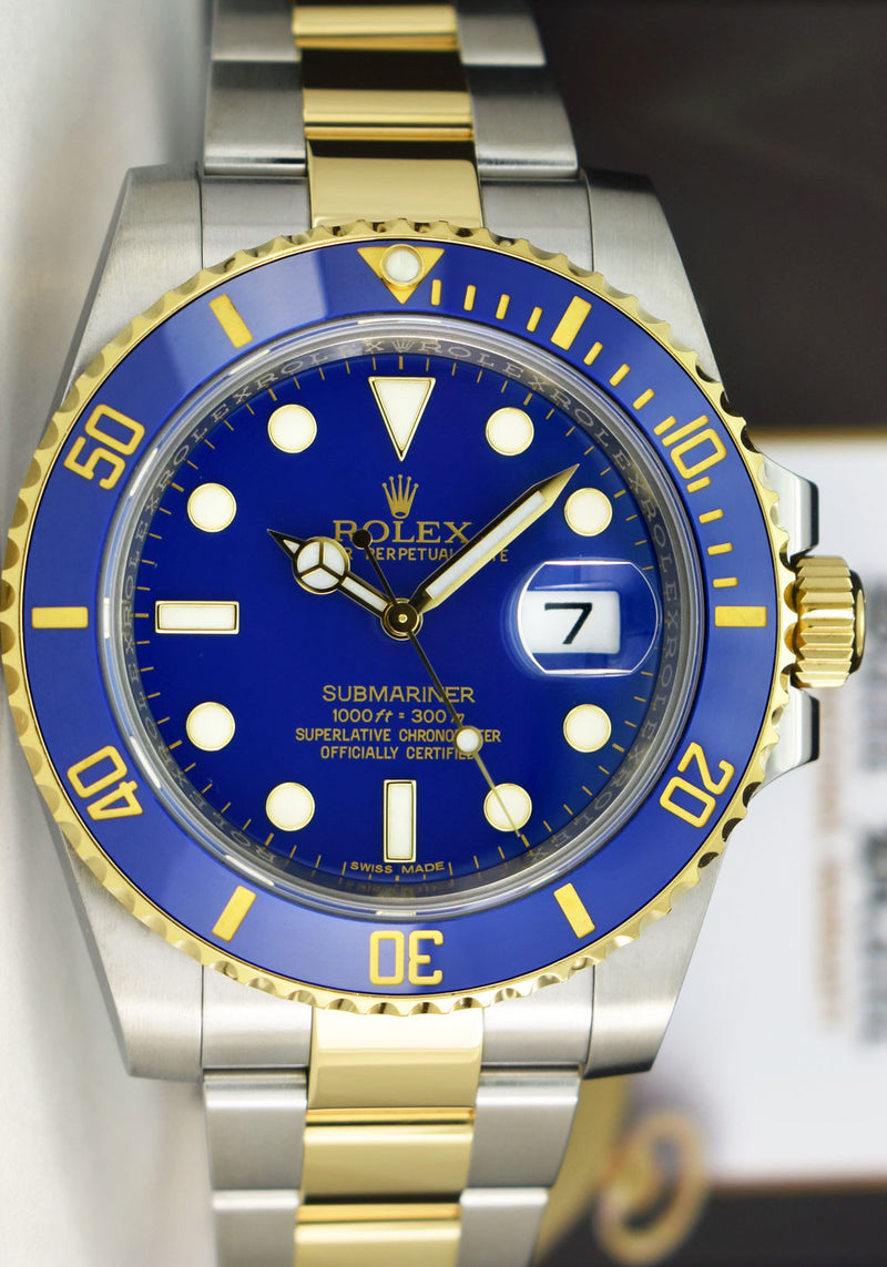 ROLEX 18kt Gold & Stainless Submariner Blue Dial Box & Card Model 116613LB