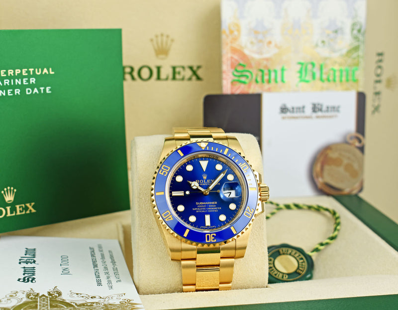 2020 ROLEX Mens 18kt Gold Submariner Blue Dial Box & Card 2020 Model 116618LB