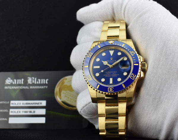 ROLEX 2020 18kt Gold Submariner Blue Ceramic Bezel Model 116618LB