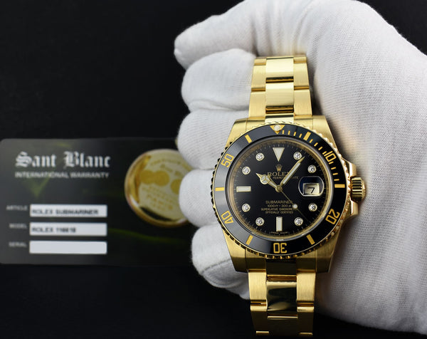 ROLEX 18kt Gold Submariner Black DIAMOND CERAMIC 116618