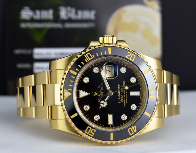 ROLEX 18kt Gold Submariner Black Diamond Ceramic Model 116618
