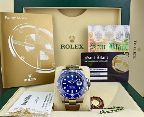 ROLEX - Mens 40mm 18kt White Gold Ceramic Submariner - Blue Dial - 116619