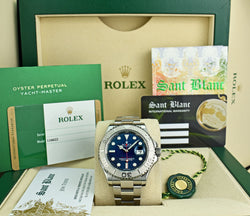 ROLEX 40mm Platinum & Stainless Yachtmaster Blue Dial 2016 Card Model 116622