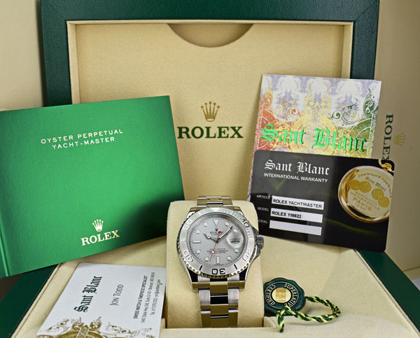 ROLEX - 40mm Platinum & Stainless Yachtmaster - Platinum Dial - 116622