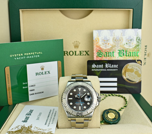 ROLEX 40mm Platinum & Stainless Yachtmaster Rhodium Dial 2018 Card Model 116622