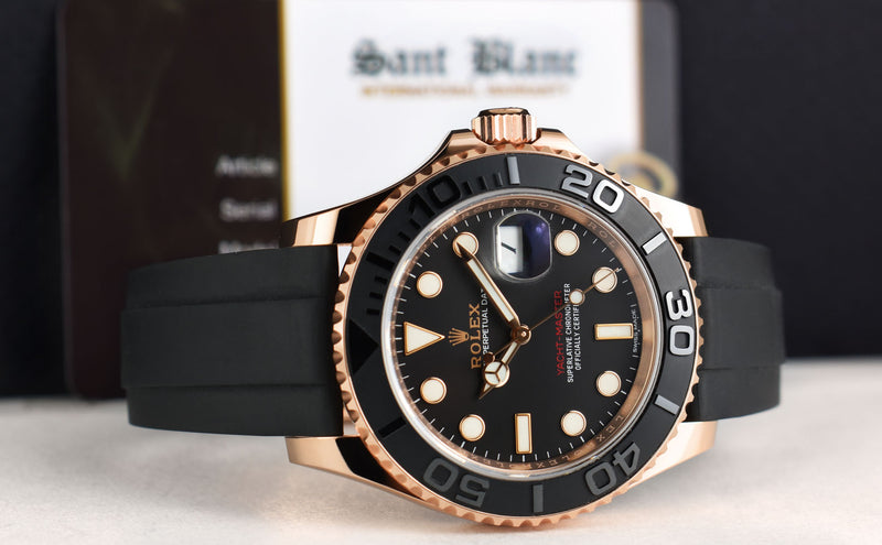 ROLEX 40mm Mens 18kt Rose Gold Yachtmaster Oysterflex Band Model 116655