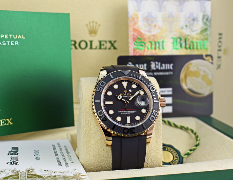 ROLEX Mens 18kt Rose Gold YACHTMASTER BOX & CARD Model 116655