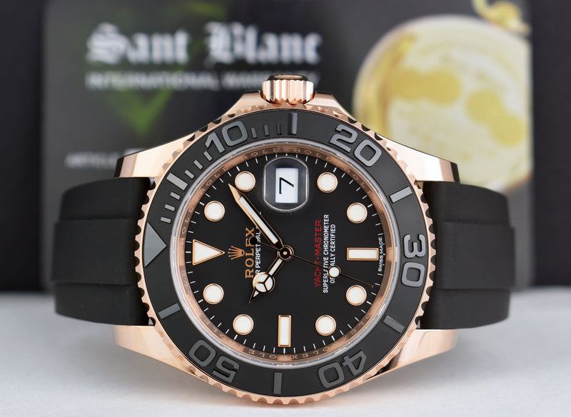 ROLEX 2019 Mens 18kt Rose Gold YACHTMASTER BOX & CARD 116655