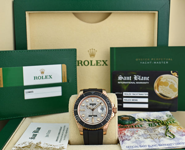 ROLEX Mens 18kt Rose Gold Yachtmaster Pave Diamond Dial Box & Card Model 116655