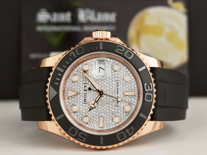 ROLEX 2019 Mens 18kt Rose Gold PAVE Dial YACHTMASTER Box and Card 116655