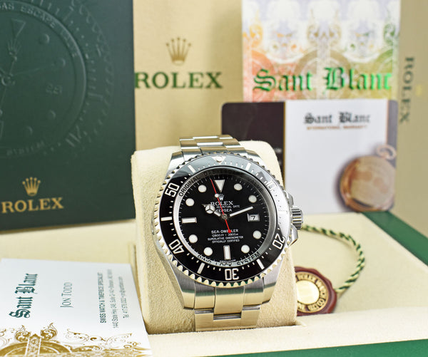 ROLEX Stainless Steel Deepsea SeaDweller Black Dial Red Hand Box & Card Model 116660