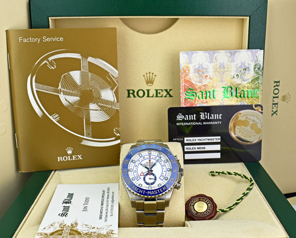 ROLEX 44mm Stainless Steel Yachtmaster II White Dial Blue Hands 116680