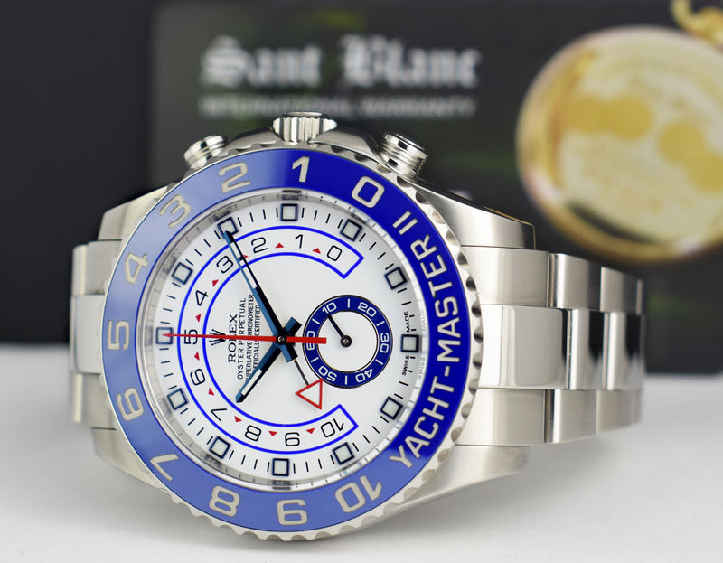ROLEX 44mm Stainless Steel Yachtmaster II White Dial Blue Hands Factory Card 116680