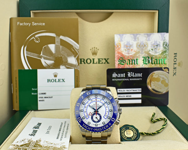 ROLEX 44mm Stainless Steel Yachtmaster II White Dial Factory Card 116680
