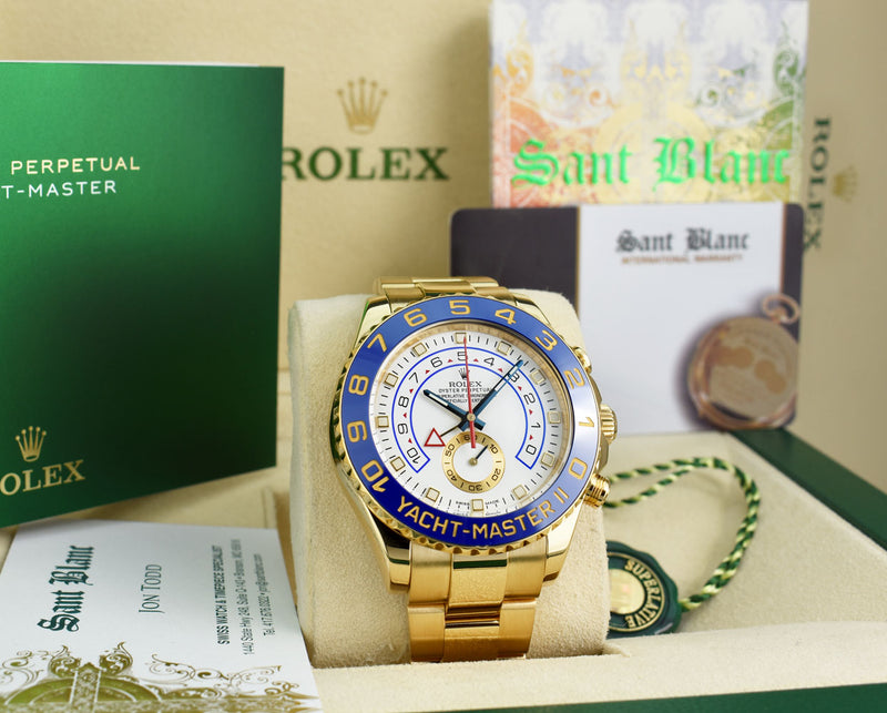 ROLEX 44mm 18kt Yellow Gold Yachtmaster II Blue Hands Model 116688