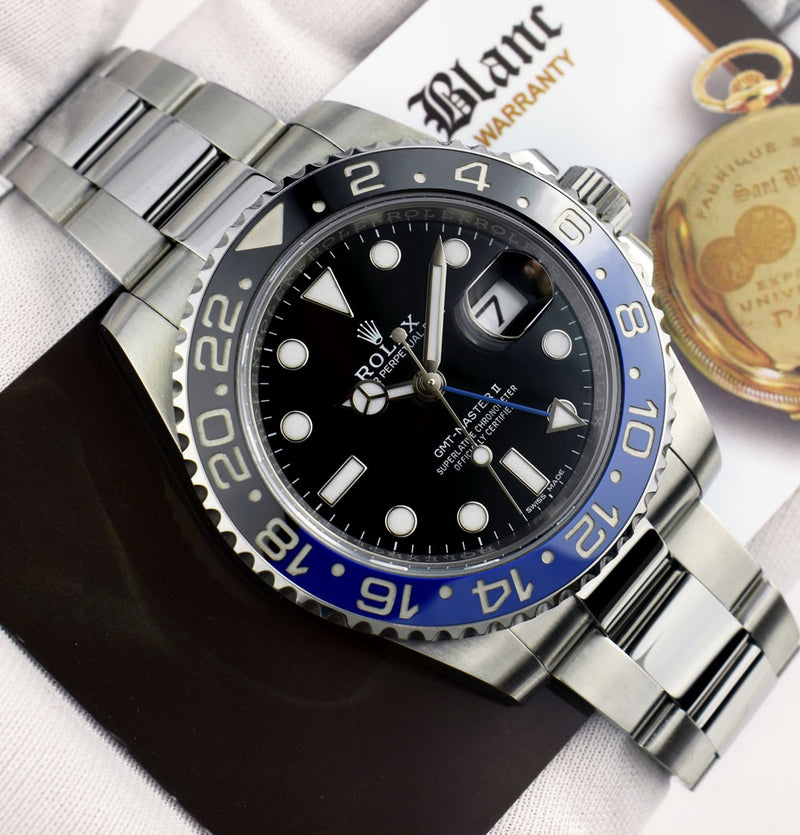 2016 ROLEX Stainless GMT Master II Blue Black CERAMIC Bezel w/ Card Model 116710 BLNR