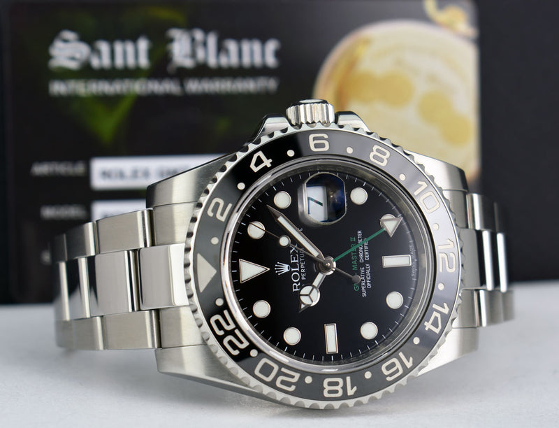 ROLEX Mens 40mm Stainless GMT Master II Black CERAMIC 116710