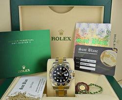 ROLEX - Mens 18kt Gold & Stainless 40mm GMT Master II Black 116713