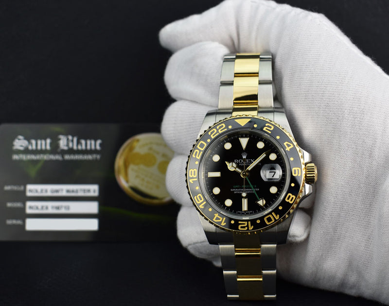 ROLEX Mens 18kt Gold & Stainless 40mm GMT Master II Black Model 116713