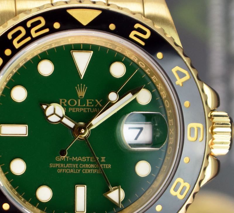 ROLEX - Mens 18kt Gold 40mm GMT Master II GREEN Box 116718