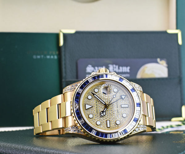 ROLEX - Mens 18kt Gold 40mm Diamond & Sapphire GMT Master II Pave 116758