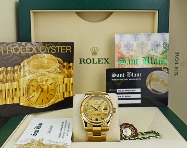 ROLEX - Mens 36mm 18kt Gold Day Date Oyster Champagne Wave 118208